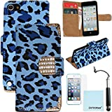 iPod Touch 5th 6th Generation Genuine Leather Case, iPod Touch 5/6 Case Genuine ZAFOORAH Credit Card Wallet Stand with 3 Bonus items Stylus, Screen Protector, Microfiber Cloth (Genuine Leather Wallet Stand - Leopard - Dark Blue)