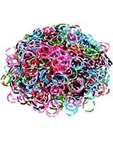 Ateam - Selection de 600 pieces d'élastiques bracelets 100% compatibles Loom, Crazy-Loom, Twitz bands + 25 clips - Elastiques Multi-couleurs foncées