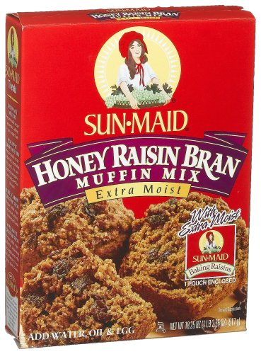 Sun-Maid Honey Raisin Bran Muffin Mix, 18.25-Ounce Boxes (Pack of 12)