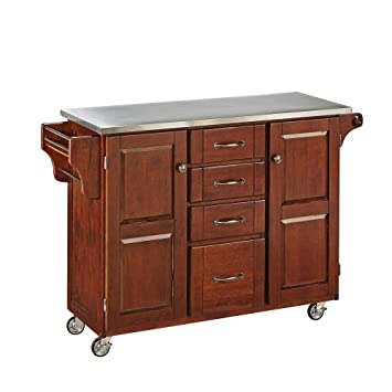 48 Inch Kitchen Island with 4 Utility Drawers 2 Cabinet Doors in Cherry Finish with an 18 Gauge Stainless Steel Top