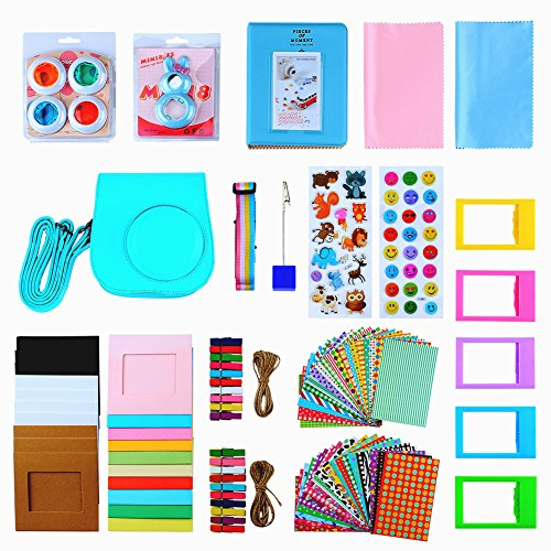 Instant Camera Mini 8 Accessories, SAIKA 15 in 1 Bundles for Fujifilm Instax Mini 8/8+(Case/Photo Album/Selfie Lens/Filters/Camera Strap/Stickers/Picture Frames/Film Clip Holder/Lens Cloth) - Mint (One Day Sale On Electronic compare prices)