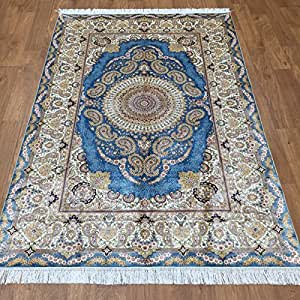 4x6 hand knotted blue living room carpet silk for Living room rugs amazon