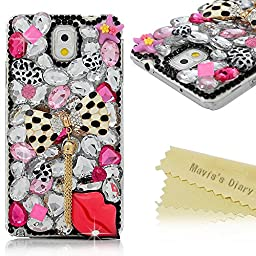 Galaxy Note 3 Case - Mavis\'s Diary 3D Handmade Bling Crytal Fashion Bow with Tassel Sexy Lips Shiny Rhinestone Sparkle Diamonds Design Clear Case Hard PC Cover for Samsung Galaxy Note 3 N9000 N9005