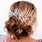 Fairy Moda Flower Wedding Hair Pins ( Set Of 6 ) Bridal Hair Piece For Women With Simulated Pearl