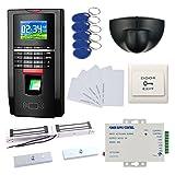 DIY Bio Fingerprint RFID Password Entry Access Control System & Exit Motion Sensor + 600LBS Force Double Door Magnetic Lock + 110-240V Power Unit+RFID Card+RFID Keyfobs+Exit Button