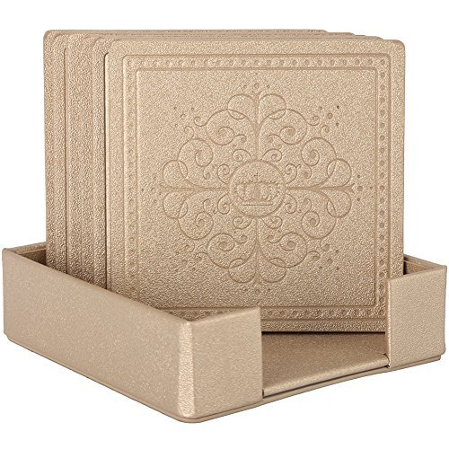 HappyDavid Champagne Gold Leather Square Placemats Cup Mat Set of 6 with Coaster Holder for Fine Wine Beer or Any Beverage Use on Bars or Fine Furniture in Your Kitchen(gold square)