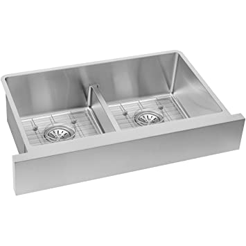 "ELKAY RESIDENTIAL ECTRUFA32179DBG Crosstown Stainless Steel Double Bowl Apron Front Sink Kit, 31-1/2"" x 20-1/4"" x 9"""