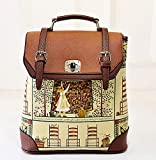 Buenocn Women's Backpack Classic Print Personalized Handbag Backpack Travel Bag Shy513 Brown
