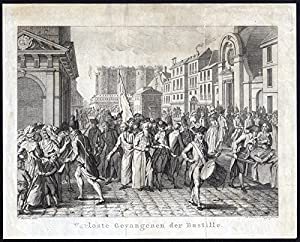 Antique print bastille french revolution prisoners france vinkeles vrijdag 1800 for Poster revolution france