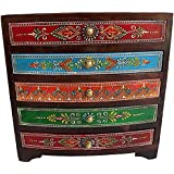 Wooden Hand Made Hand Painted 5 Drawer Box Size:- (Inche)10x10x4.5