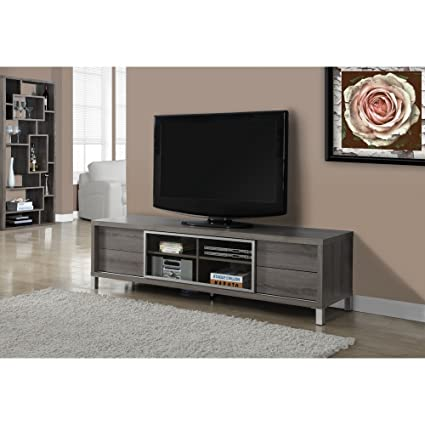 "DARK TAUPE RECLAIMED-LOOK 70""L EURO TV CONSOLE (SIZE: 70L X 18W X 20H)"
