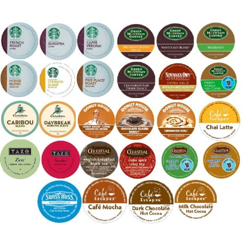 28 Count - Coffee Tea Cocoa Variety Sampler K-Cup Pack for Keurig Brewers - From leading brands Starbucks, Green Mountain, Celestial, Caribou, Donut House and Cafe escape
