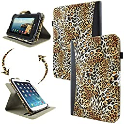 caseen Universal Tablet Wallet Case 7 - 8 Inch (Leopard Animal Print/Black) w/ Multi-Angle Rotating Stand - TERRA 360