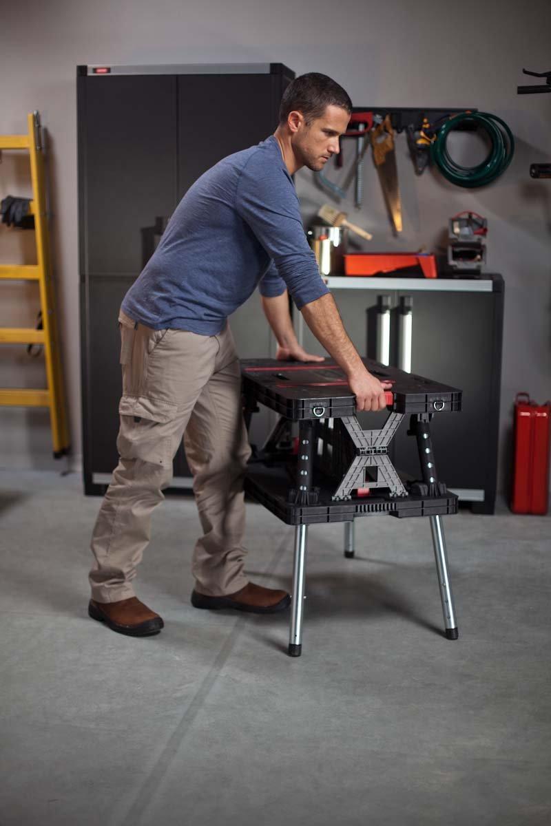 Keter 217679 Adjustable Leg Folding Work Table New Free