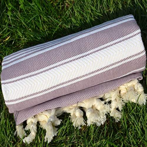 Old Lavender Turkish Towel Peshtemal - 100% Natural Dyed Cotton - for Beach Spa Bath Swimming Pool Hammam Sauna Yoga Pilates Fitness Gym Picnic Blanket (Dandelion Textile)