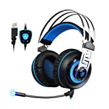 Sades A7 Gaming Headset 7.1 Stereo Surround Sound Earphone Game Headphone with Mic Led For PC Laptop Gamer (Black&Blue) (Color: Black Blue)