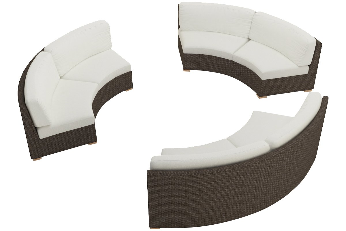 Harmonia Living 3 Piece Arden Curved Sectional Cushion Set - Canvas Natural