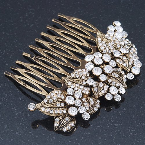 Vintage Inspired Bridal/ Wedding/ Prom/ Party Austrian Clear Crystal 'Leaves & Flowers' Hair Comb In Antique Gold Metal - 80mm 3