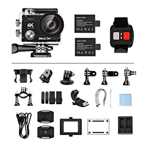 Dragon Touch 4K Action Camera 16MP Sony Sensor Vision 3 Underwater Waterproof Camera 170° Wide Angle WiFi Sports Cam with Remote 2 Batteries and Mounting Accessories Kit (Color: Black)