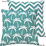 Chloe & Olive Palm Beach Collection Hawaiian Chevron Reversible Outdoor Patio Cushion Cover, 18-Inch, Striped, Turquoise/White