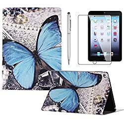 iPad Air 2 Case, Gift-Hero(TM) Leather Protective Durable Folio Slim Case iPad 6 Cover for Apple iPad Air 2 9.7 inch Table Cases (Blue Butterfly)