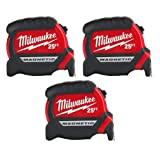 Milwaukee 48-22-0125 Heavy Duty 25 Foot Magnetic Tape Measure (3 Pack)