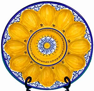 Amazon Com Ceramic Deviled Egg Plate From Spain Fiesta