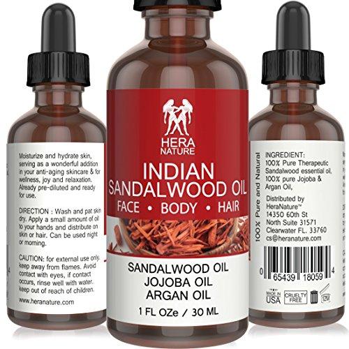 Indian Sandalwood Essential Oil, 100% Pure, Therapeutic Grade with Jojoba & Argan Oil - 30ml (1oz)