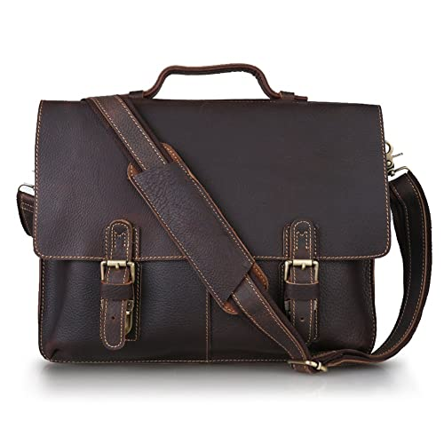 Kattee Twin Buckle Genuine Leather Messenger Bag