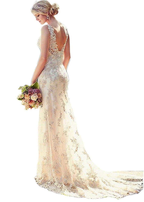 Ikerenwedding® Women's Double V-neck Straps Lace Applique Mermaid Wedding Dress   Amazon.com