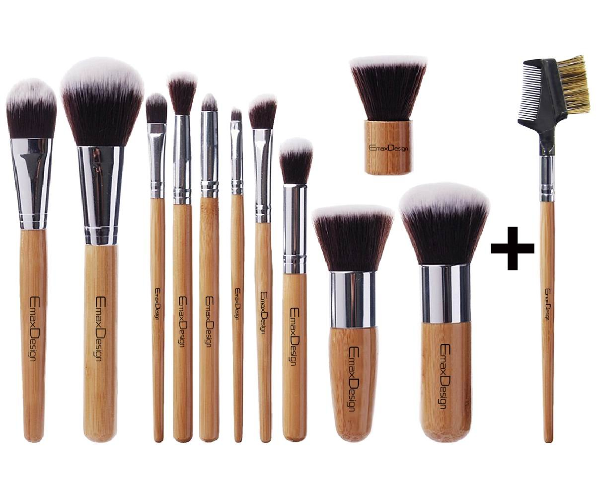 (New Arrival) EmaxDesign 12 Piece Makeup Brush Set Professional Bamboo Handle Premium Synthetic Kabuki Foundation Blending Blush Concealer Eye Face Liquid Powder Cream Cosmetics Brushes Kit With Bag