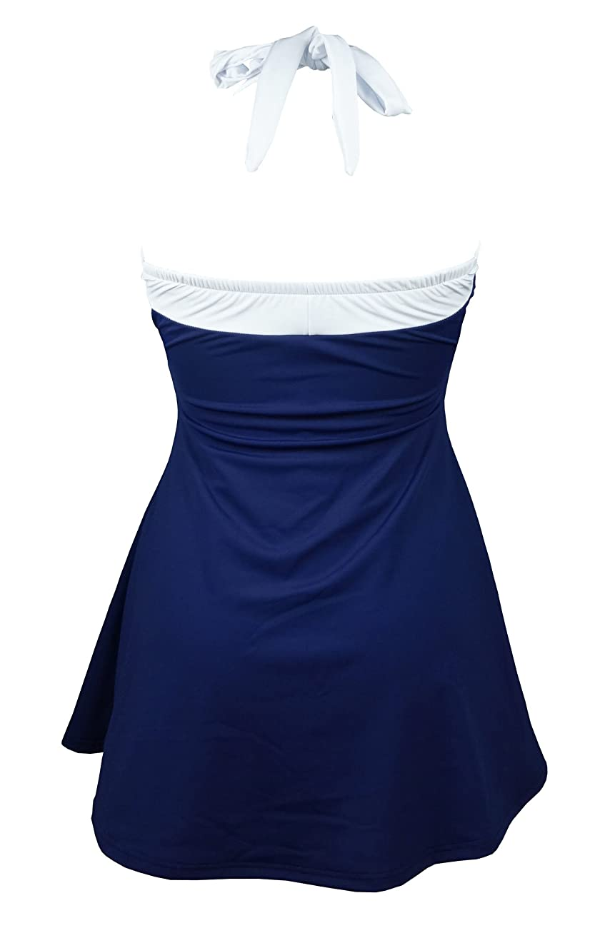 Cocoship Vintage Sailor Pin Up Swimsuit One Piece Skirtini Cover Up Swimdress(FBA) 2
