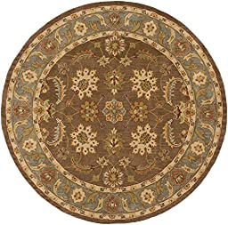 Brown Rug Classic Design 6-Foot x 6-Foot RD Hand-Made Traditional Wool Carpet