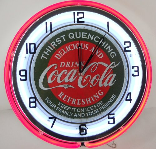 """Coca Cola 18"""" Double Neon Light Chrome Clock Bottle Sign Distressed Vintage Style Red front-500347"""