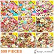 RayLineDo®Mixed Different Pattern Printed Various Shaped Wooden Buttons Crafting Sewing DIY Different Holes Approx 500 PCS by RayLineDo