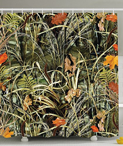 Camouflage Plants Leaves Fall Foliage Shower Curtain Set with Hooks, Green Orange Khaki
