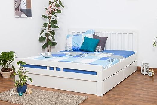 """Bett / Jugendbett """"Easy Sleep"""" K8 inkl. 2 Schubladen und 1 Abdeckblende, 180 x 200 cm Buche Vollholz massiv weiß lackiert"""