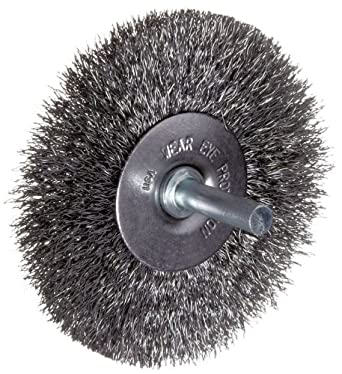 "Weiler Vortec Pro Wide Face Wire Wheel Brush, Round Hole, Carbon Steel, Crimped Wire, 6"" Diameter, 0.014"" Wire Diameter, 5/8-1/2"" Arbor, 1-1/8"" Bristle Length, 7/8"" Brush Face Width, 6000 rpm"