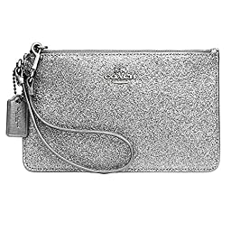 COACH Women\'s Box Program Glitter Small Wristlet SV/Black Clutch