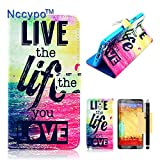 Galaxy Note 3 Case Nccypo Fashion Folio PU Leather Magnet Wallet Slim Protective Samsung N9000 Phone Case Cover For Samsung Galaxy Note 3 N9000[Printed Pattern Series-RE] with Stylus, Screen Protector and Cleaning Cloth