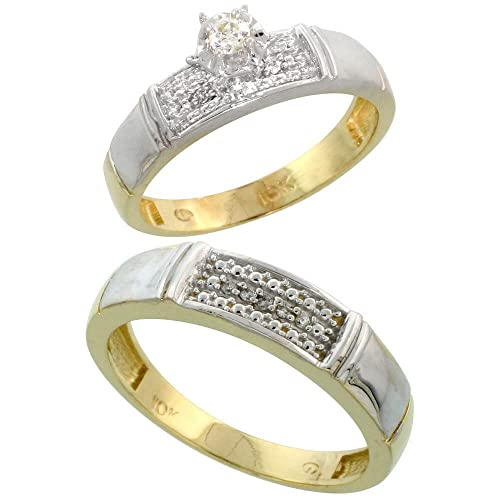 9ct Gold 2-Piece Diamond Ring Set, 4.5mm Engagement Ring & Man's 5mm Wedding Band