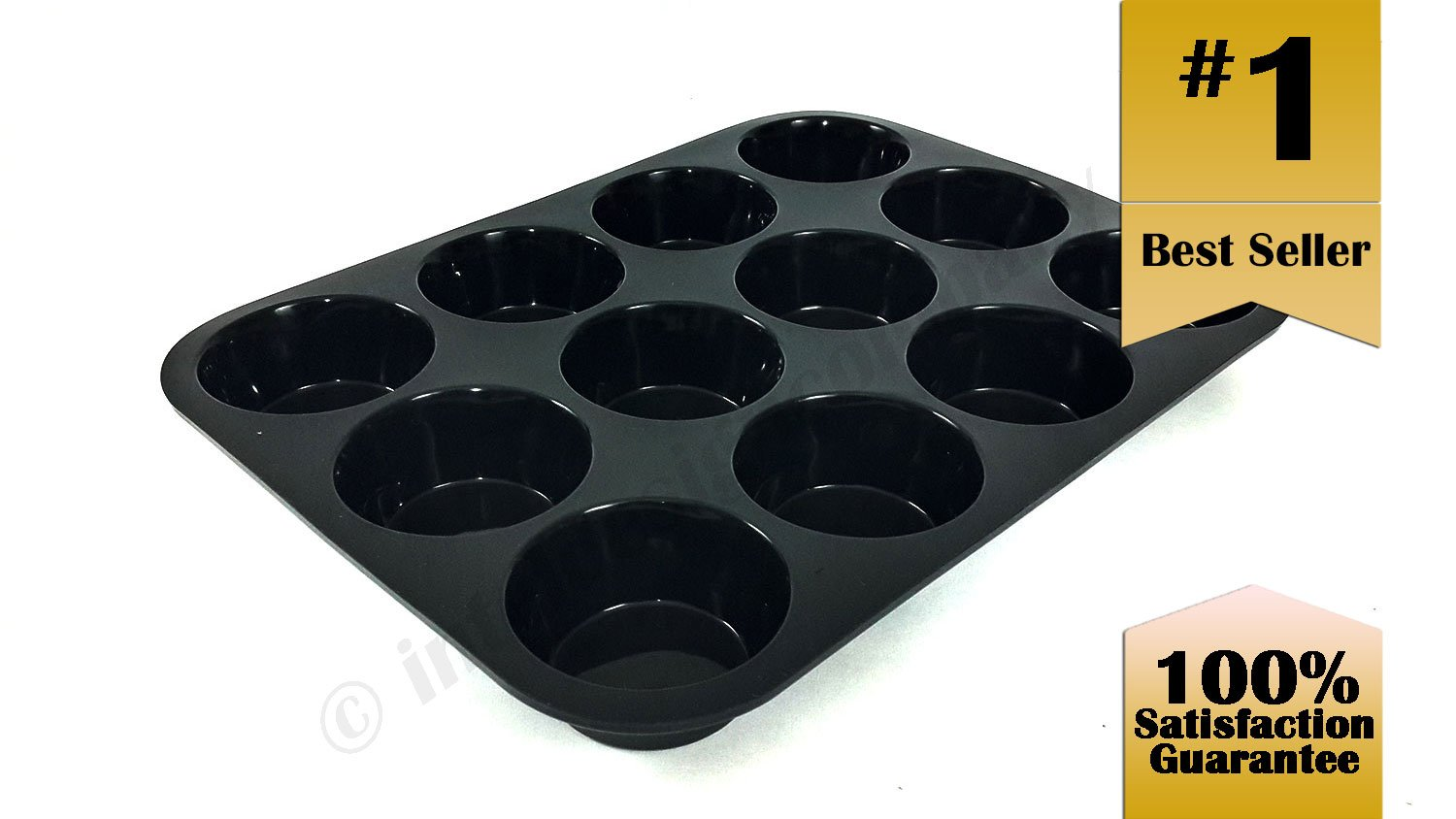 Premier Kitchen ~ 12 Cup Muffin Pan and Cupcake Maker, Bakeware, Black