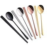 Buyer Star 4 Set Spoon Chopsticks, 4 Color Reusable Metal Stainless Steel Korean Chopstix Spoon Set (Color: Mix Color)