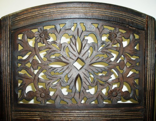 Rajasthan - Antique Brown - 3-Panel Handcrafted Wooden Room Divider Screen - Size: 72 inches tall by 60 inches wide - Intricate detail with carving on both sides of the screen making it fully reversible, highly versatile - It hides clutter, adds décor, a
