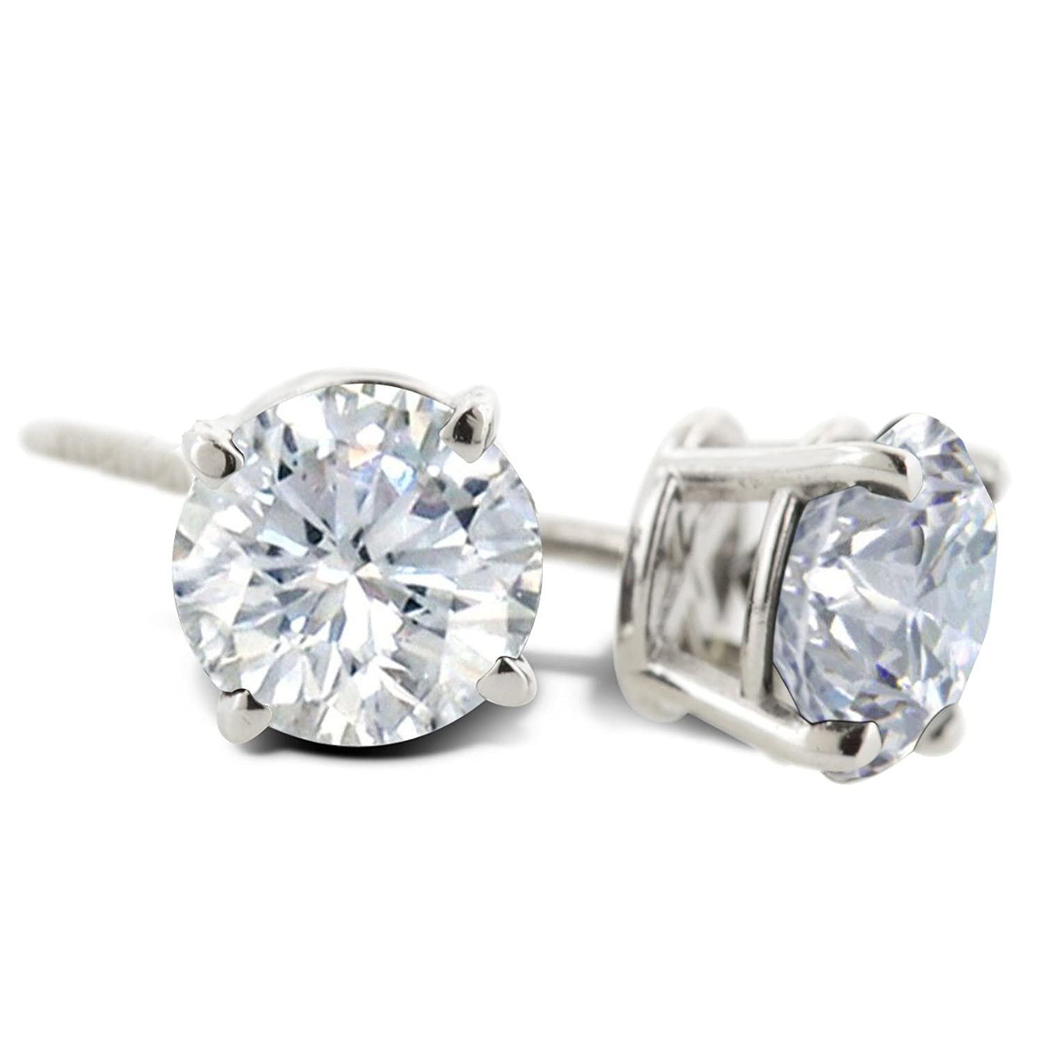 IGI Certified 14K White Gold Round Diamond Stud Earrings (1cttw) with Screw Backs