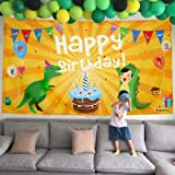 BEESTECH Dinosaur Themed Birthday Party Supplies Supply Favors for Boys Girls Toddlers Baby, Dinosaur Birthday Party Banner Decoration Backdrop Background Tablecloths(Golden) (Color: Yellow, Tamaño: Jumbo)