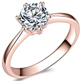 Jude Jewelers 1.0 Carat Classical Stainless Steel Solitaire Engagement Ring (Rose Gold, 7.5) (Color: Rose Gold)