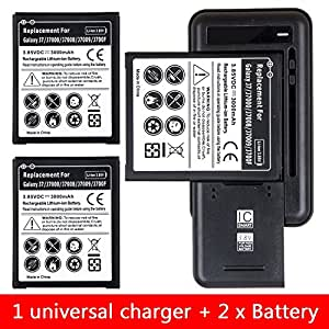 Samsung Galaxy J7 Battery, [J700 / 2015] AnoKe 1 x Universal Battery Charger + 2 x 3300mAh Li-ion Rechargeable Battery Replacement [18-Month Warranty] For Samsung Galaxy J7 J700 NEW