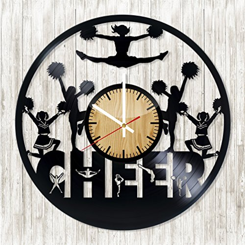[CHEER Vinyl Record Wall Clock - Get unique bedroom wall decor - Gift ideas for adults, boys and girls - Cheerleading Lover Unique Art Design - Leave us a feedback and win your custom] (Dance Studio Costumes Companies)