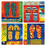 "CoasterStone AS9685 Absorbent Coasters, 4-1/4-Inch, ""Tropical Flip Flops"", Set Of 4"